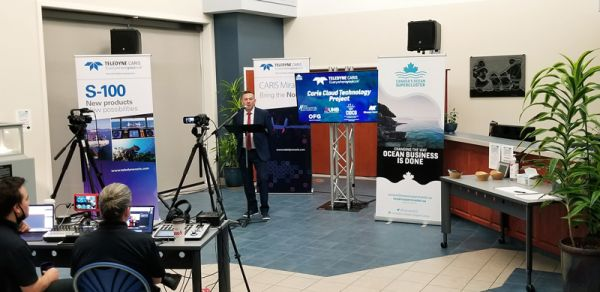 Teledyne CARIS' Andy Hoggarth presents the CARIS Cloud Technology Program strategy at the Canada's Ocean Supercluster Award announcement.