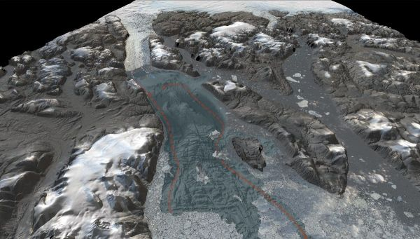 3D-visualization showing the seafloor bathymetry of the previously uncharted Sherard Osborn Fjord, north Greenland. The red line illustrates the inflowing warmer water of Atlantic origin that is partly prevented from reaching Ryder Glacier by a bathymetric shoal. (Credit: Martin Jakobsson, co-head of the Seabed 2030 Arctic and North Pacific Ocean Regional Center)