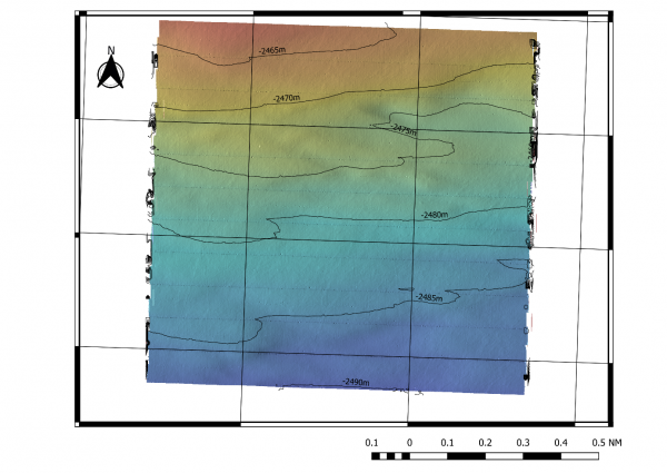 Global Digital Terrain Modelling of a 1Nm2 survey between 2,450m and 2,500m.