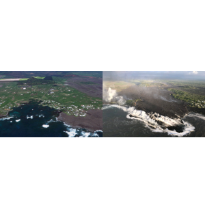 Unmanned Surface Vehicles Monitoring Lava Flow
