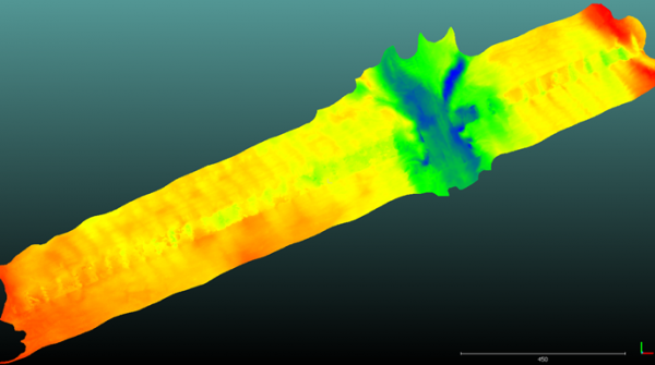 Data set from the Fort Pierce Inlet, 2019. Delivered as one large point cloud to process, it was originally two merged points clouds from both a multibeam survey and Teledyne BlueView laser scan of the pilings and bridge structure.