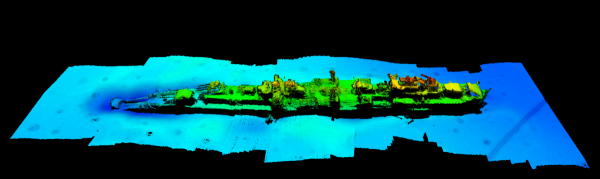 Multibeam imagery of the wreck of the long-lost German warship Karlsruhe.