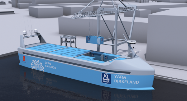 Figure 3: Norwegian chemical company Yara International has teamed up with another Norwegian company, Kongsberg, to build an autonomous cargo ship. (Courtesy: Yara International).