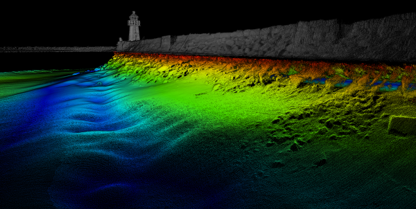 Full resolution point cloud data of combined multibeam and Lidar survey.