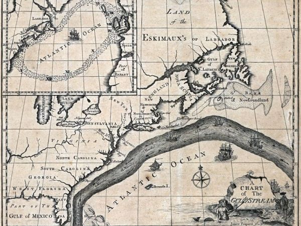 Map of the Gulf Stream by Benjamin Franklin, 1769-1770. (Courtesy: NOAA Photo Library)