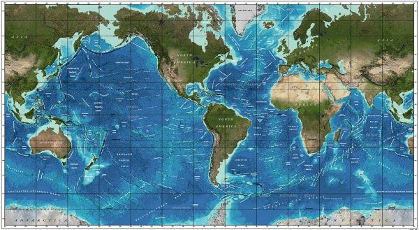 Figure 2: General Bathymetric Chart of the Oceans (GEBCO) World Ocean Bathymetry.  Image reproduced from the GEBCO world map 2014, available from www.gebco.net.