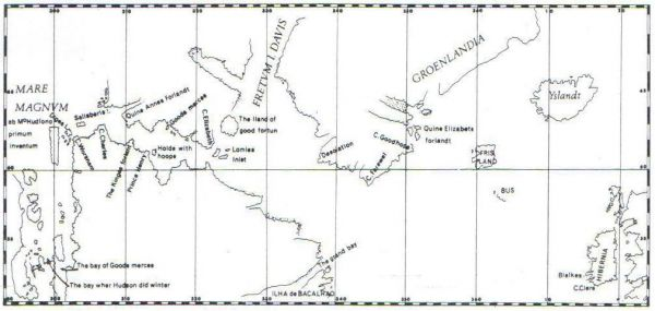 Map of the fourth voyage of Henry Hudson, 1610-1611.