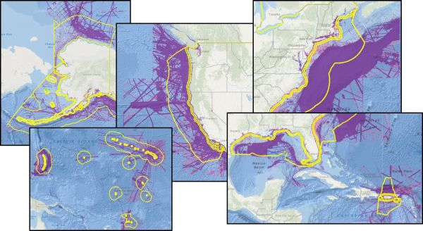 Figure 3: Preliminary analysis of US EEZ bathymetric data gaps for Seabed 2030, NOAA 2017, available from http://seasket.ch/i0D3ZhDWiQ.