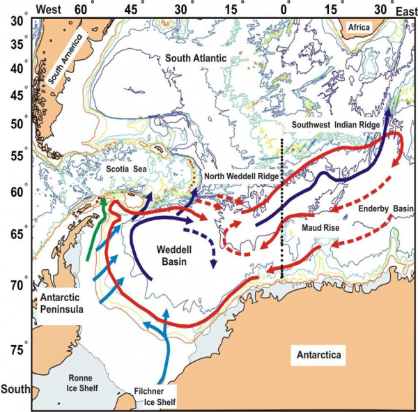 Figure 1: Map of the Weddell Sea and environs (Courtesy: AWI, Bremerhaven).
