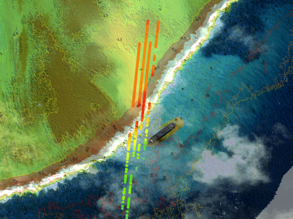 TCarta 2m Satellite Derived Bathymetry data and ICESat-2 tracks overlaid on Maxar WorldView satellite image showing the WV Wakashio wreck near Mauritius. (Image credit: Maxar Technologies)