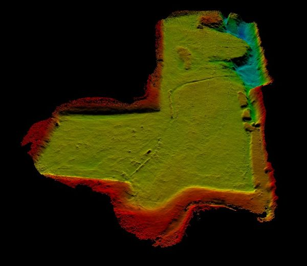 Figure 2: Bathymetry of the lake near Reading. The majority of the lake ha a flat bottom with 2m depth.