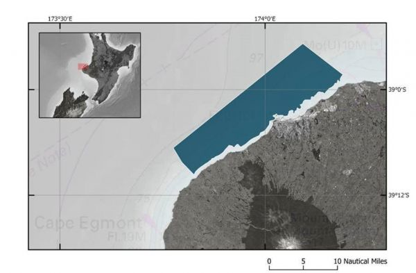 Map of LINZ hydrographic survey area off Taranaki coast. (Courtesy: LINZ)