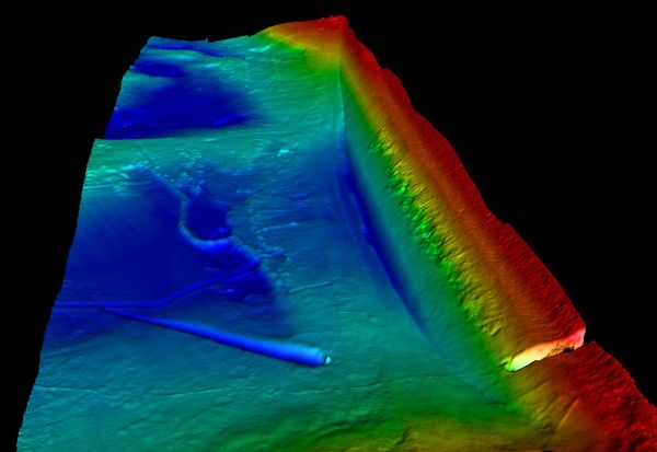 Figure 4: 3D plot of the bathymetry of part of the west dam wall at Draycote Water. Colour scaling is from the surface down to 17.5m.