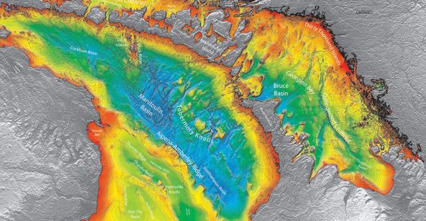 Figure 1:  A bathymetric image of Lake Huron. In the same way that topographic maps represent the three-dimensional features (or relief) of overland terrain, bathymetric maps illustrate the land that lies underwater. (Source NOAA)