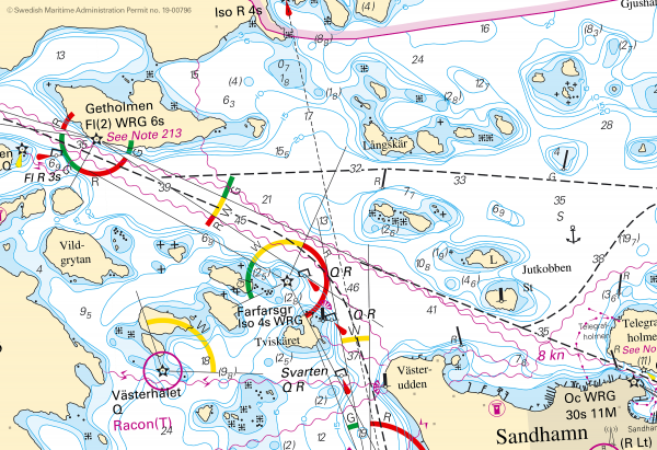 Figure 2: Swedish Maritime administration's homepage with source data using INT1 portrayal. (Source: Swedish Maritime Administration Permit no. 19-00796)