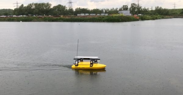 Figure 1: The USV in action on the lake near Reading.