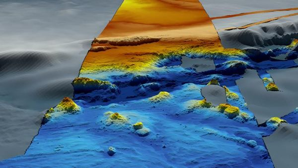 Figure 5: Image of the seafloor in the same location as Figure 2 but showing a strip of high-resolution data (in colour) where multibeam data has been acquired. (Source: Australian Government, portal Geoscience Australia.)