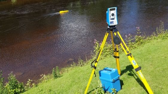 Bathymetric Survey Vessel Tracked with Total Station