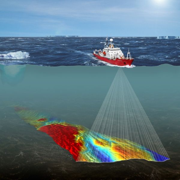Collecting bathymetric data using multibeam echosounders (MBES). (Courtesy: iSURVEY Group)