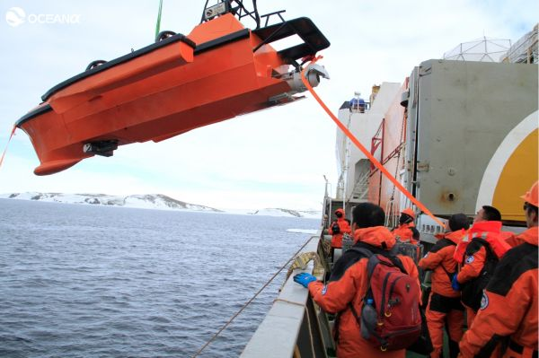 The M80 USV launched from the Snow Dragon near Inexpressible Island.