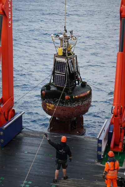 Rescue mission: successful recovery of the UK's PAP mooring buoy onto the back deck of the Maria S. Merian.