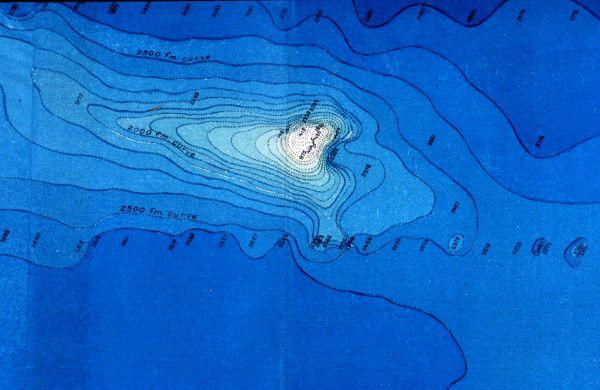 1893 depiction of Erben Seamount in a surprisingly modern appearing map appearing in a report detailing a cable survey by the United States Fish Commission Steamer Albatross.