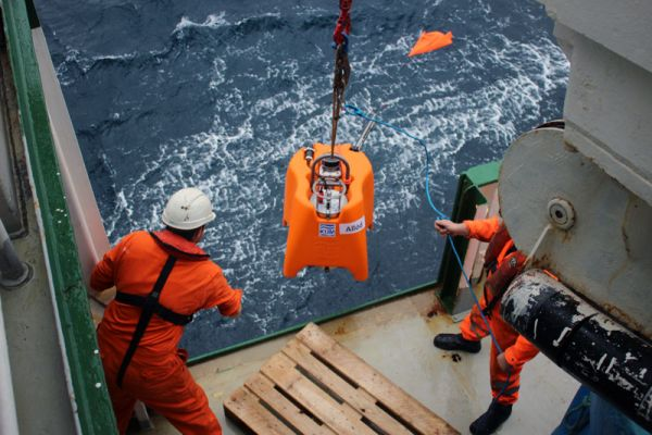 Allód is winched off the starboard side by the Celtic Explorer crew and released into the water.