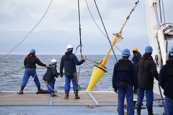 Acoustic buoy on deck of BHO Beautemps-Beaupré, ready for launching. (Courtesy: Shom – F. Le-Courtois)