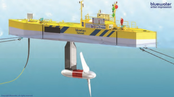 Artist's impression of BlueTEC Texel holding a T2 turbine
