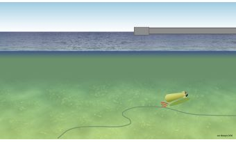 UUV navigation using distributed transducer cable